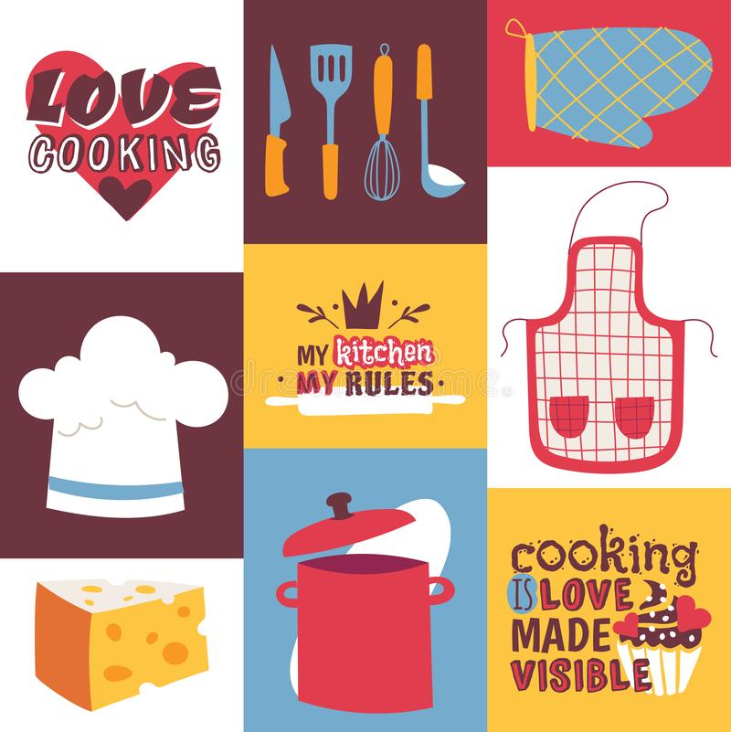 Kulinarnych naczyń wektoru ilustracja Kulinarni urządzenia, restauracji dostawy i karmowy tło Miłości gotować, Mój royalty ilustracja