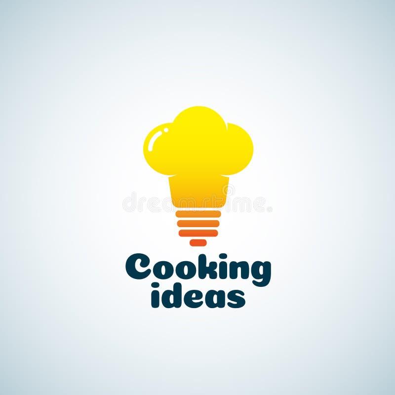 Kulinarnych pomysłów wektoru Abstrakcjonistyczny znak, emblemat lub loga szablon, Żarówki i szefa kuchni mikstury Kapeluszowa syl ilustracji