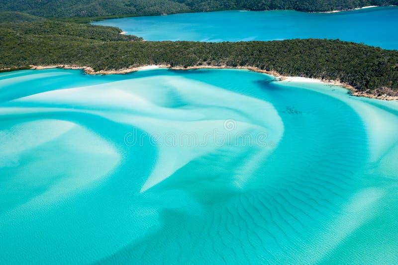 Kulleöppning från luften över pingstdagön - virvlande runt vita sander och blått grönt vatten arkivfoton