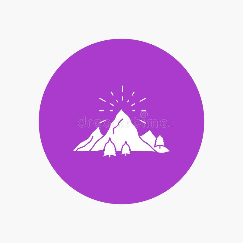 kulle landskap, natur, berg, vit skårasymbol för fyrverkerier i cirkel Vektorknappillustration stock illustrationer