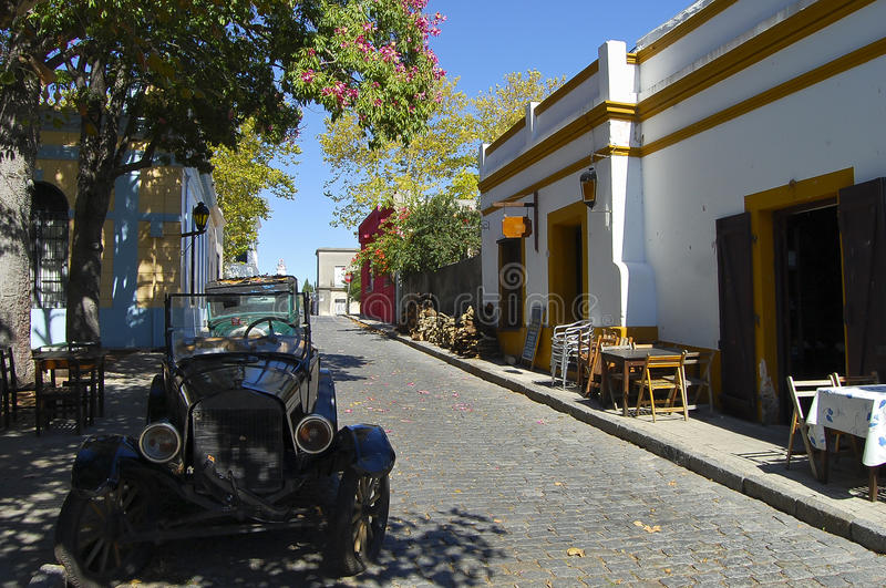 Kullerstengata - Colonia Del Sacramento - Uruguay arkivbilder