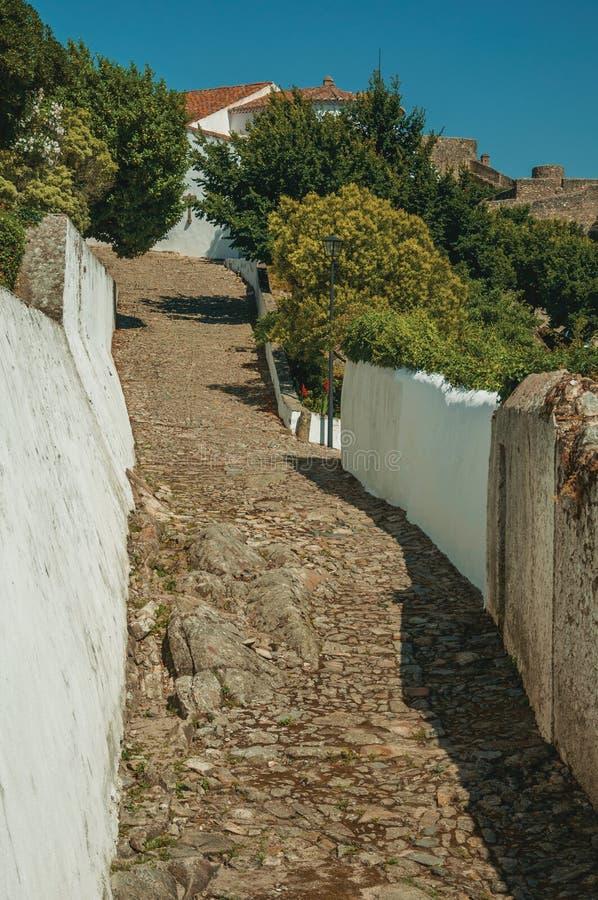 Kullerstengränd som går stigande bland kalkade väggar och träd arkivfoto