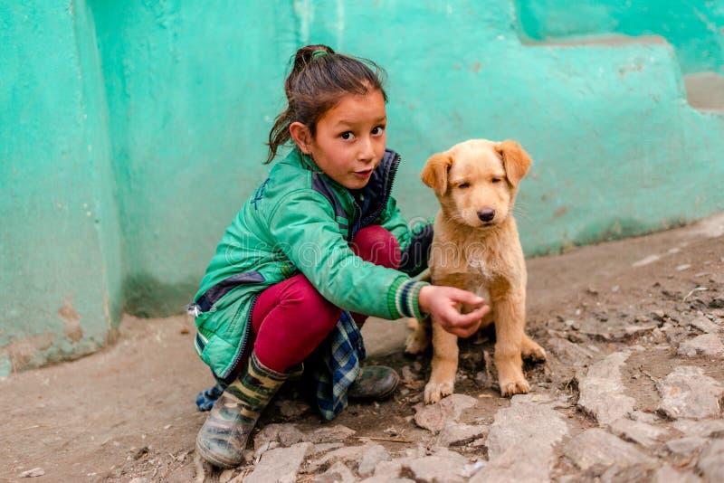 Kullu, Himachal Pradesh, Índia - 4 de fevereiro de 2019: Cão indiano com as crianças em montanhas de Himalaya, Himachal Pradesh imagem de stock