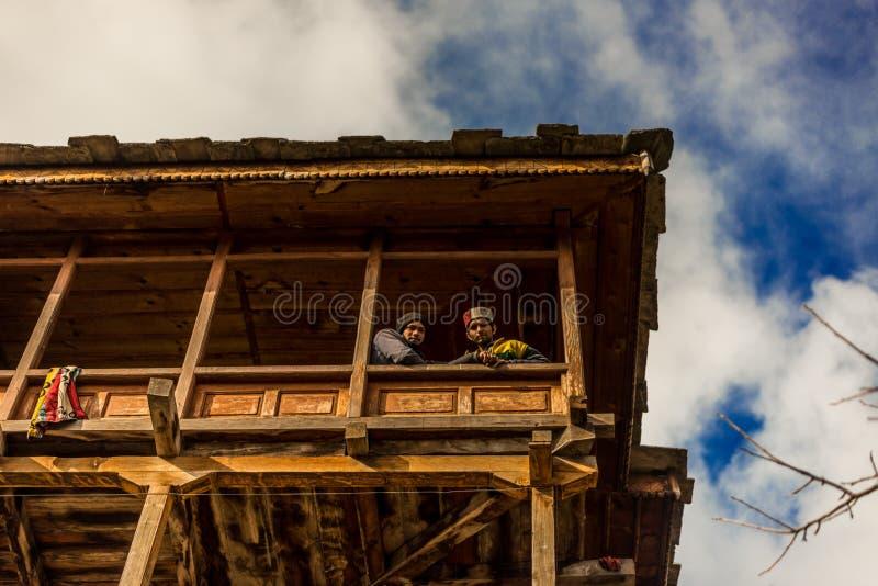 Kullu, Himachal Pradesh, India - April 01, 2019 : Photo of Local People in their house in Himalayan village. India stock photo
