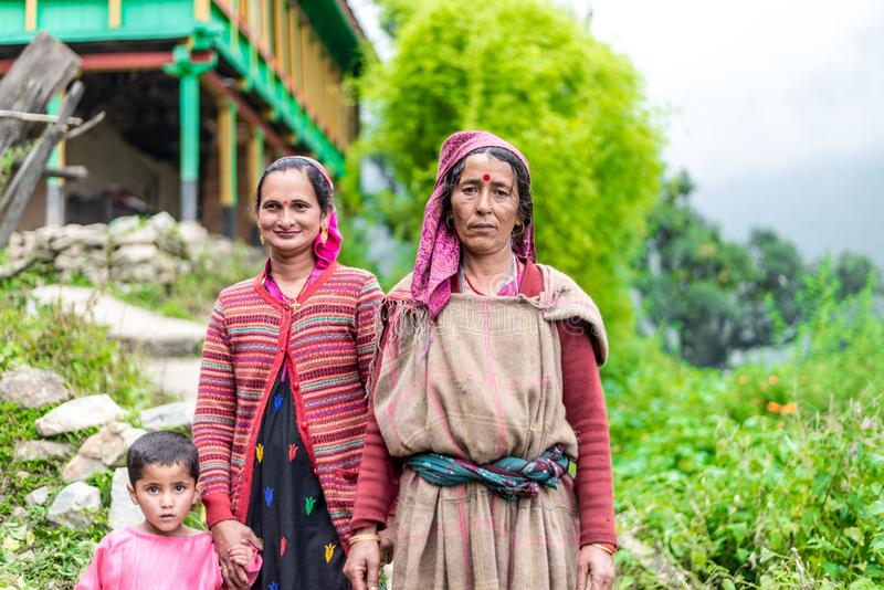 Kullu, Himachal Pradesh, India - August 31, 2018 : Photo of beautiful Indian himalayan Traditional women stock images