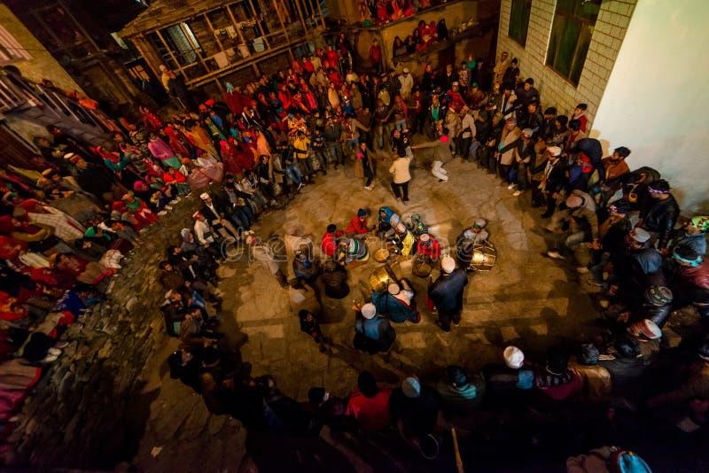 Kullu, Himachal Pradesh, India - December 07, 2018 : Local Dance nati program in himalaya. India stock photography