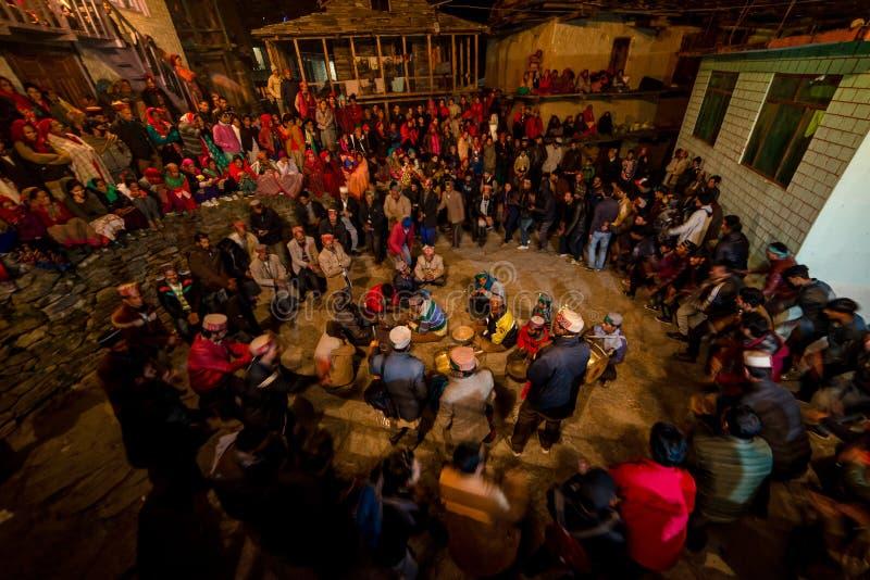 Kullu, Himachal Pradesh, India - December 07, 2018 : Local Traditional Dance in himalayas. India stock photos