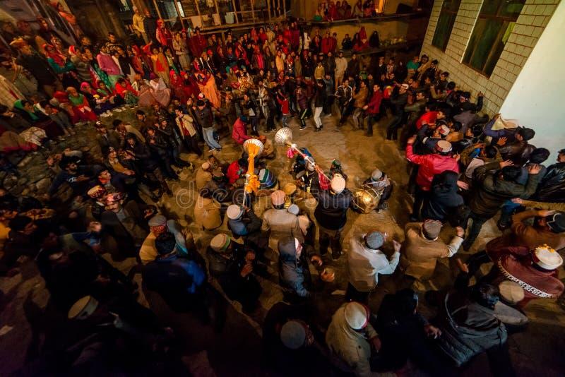 Kullu, Himachal Pradesh, India - December 07, 2018 : Local Traditional Dance in himalayas. India stock image