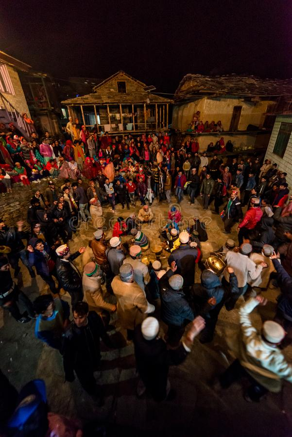 Kullu, Himachal Pradesh, India - December 07, 2018 : Local Traditional Dance in himalayas. India stock photo