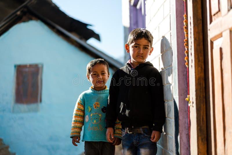 Kullu, Himachal Pradesh, India - December 08 2018 : Photo of himalayan kids in mountain, Himalayan people stock photos