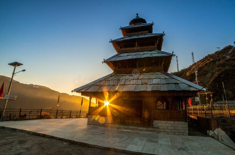 Kullu, Himachal Pradesh, India - December 07, 2018 : Sunset at manu rishi temple in himachal. India royalty free stock images