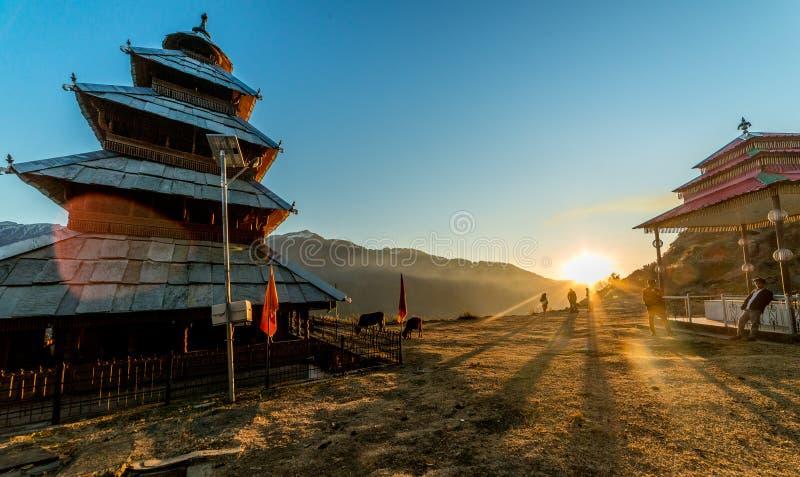 Kullu, Himachal Pradesh, India - December 07, 2018 : Sunset at manu rishi temple in himachal. India stock photo