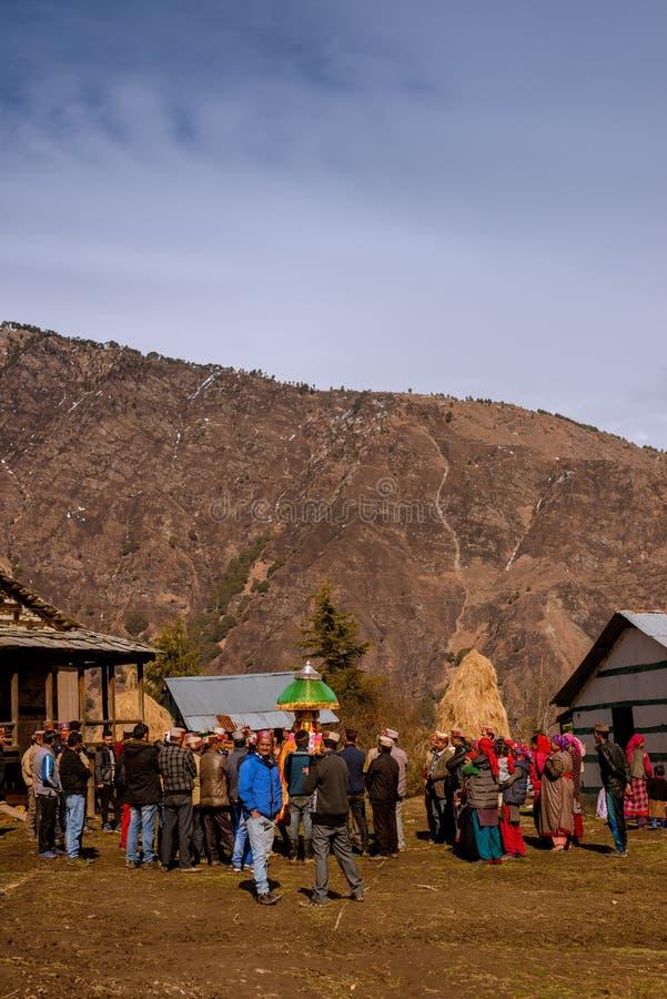 Kullu, Himachal Pradesh, India - February 13, 2018 : Local People doing worship local God ( Devta ) in Himalayas. Kullu, Himachal Pradesh, India -February 13 royalty free stock images