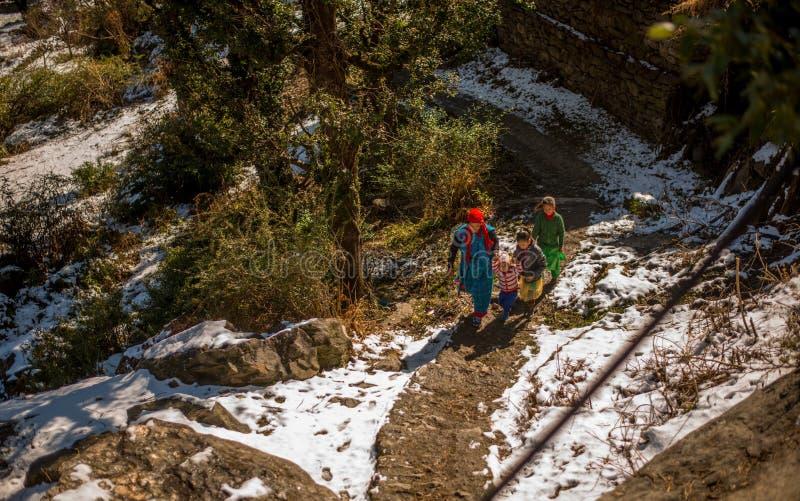 Kullu, Himachal Pradesh, India - January 26, 2019 : A himachali family in winters - aerial view. Kullu, Himachal Pradesh, India - January 26, 2019 : A himachali royalty free stock images