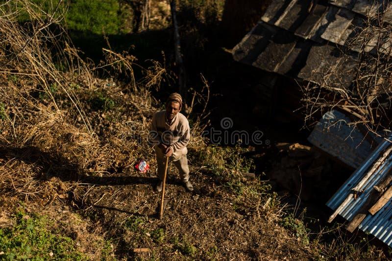 Kullu, Himachal Pradesh, India - January 17, 2019 : Photo of man in mountain, Himalayan people. Kullu, Himachal Pradesh, India - January 17, 2019 : Photo of man stock photos