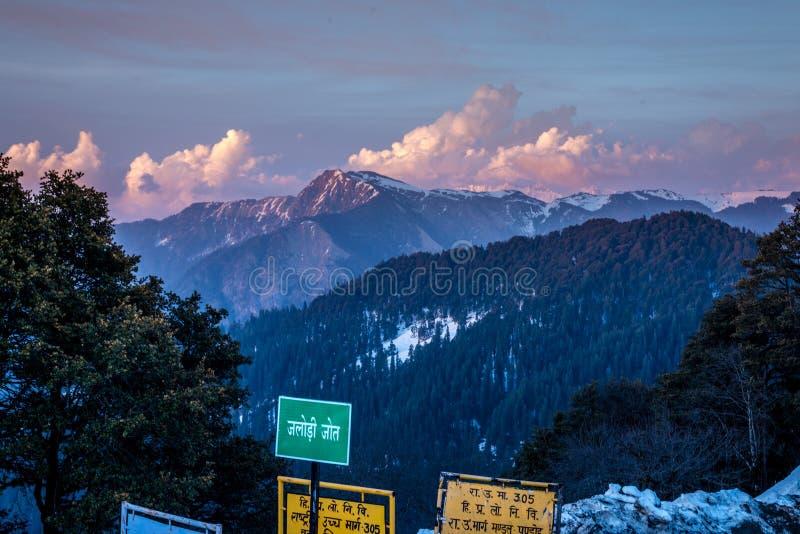 Kullu, Himachal Pradesh, India - March 30, 2019 : Jalori Pass is High Mountain Pass in Himalayas - India. Kullu, Himachal Pradesh, India - March 30, 2019 royalty free stock image