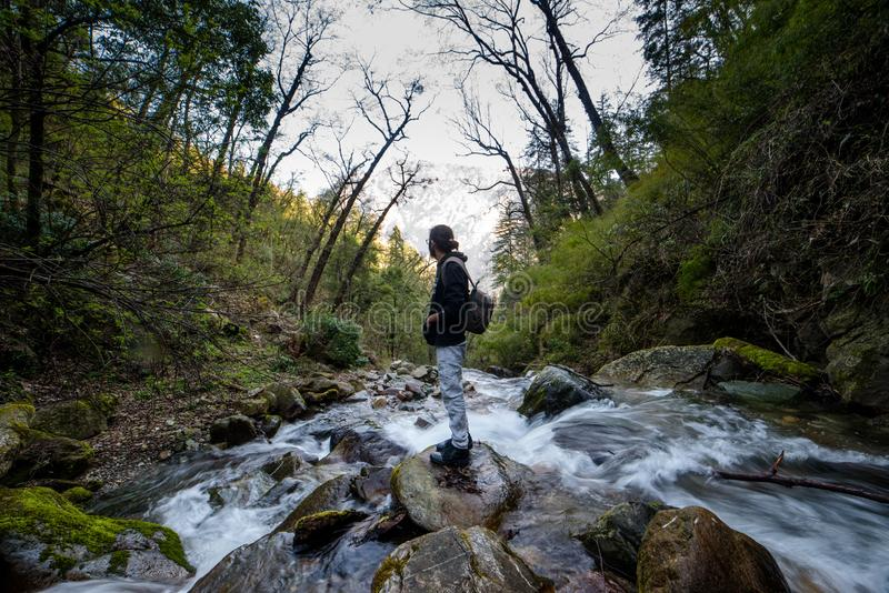 Kullu, Himachal Pradesh, India - March 01, 2019 - Traveller at milky water stream in himalayas - waterfall. In india stock image