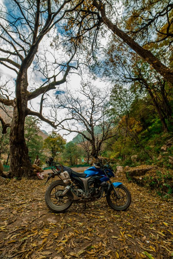 Kullu, Himachal Pradesh, India - November 26, 2018 : Ride in Autumn - Beautiful landscape with rural road, trees with red and. Orange leaves in himalays royalty free stock image