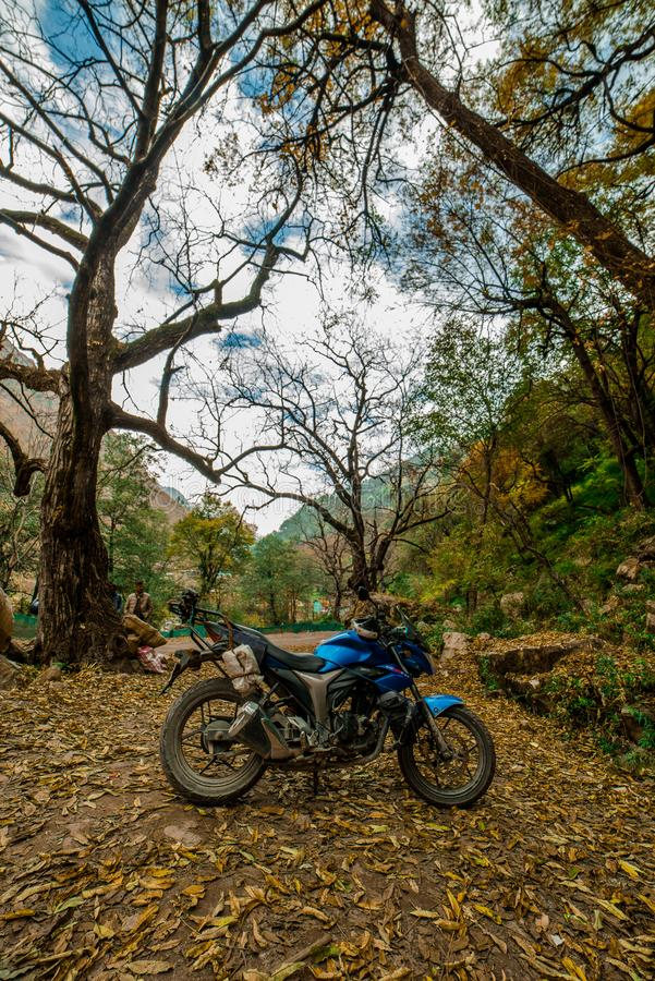 Kullu, Himachal Pradesh, India - November 26, 2018 : Ride in Autumn - Beautiful landscape with rural road, trees with red and. Orange leaves in himalays stock photo