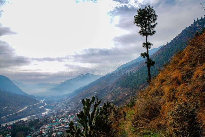 Kullu  town at  Himachal Pradesh. View  on River Beas  and   valley.  Kullu  town at  Himachal Pradesh stock image