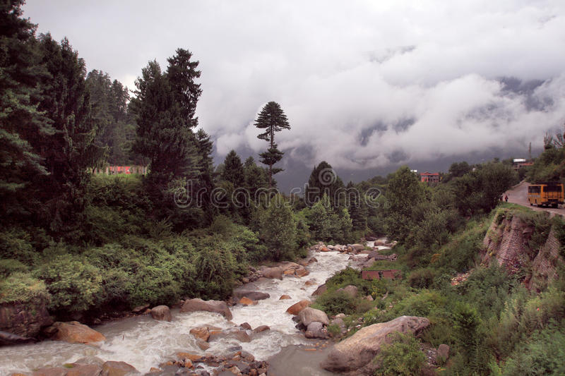 The Kullu Valley near Kullu town, India. The Kullu Valley is the largest valley in the Kullu district, in the state of Himachal Pradesh, India. The Beas River royalty free stock photography