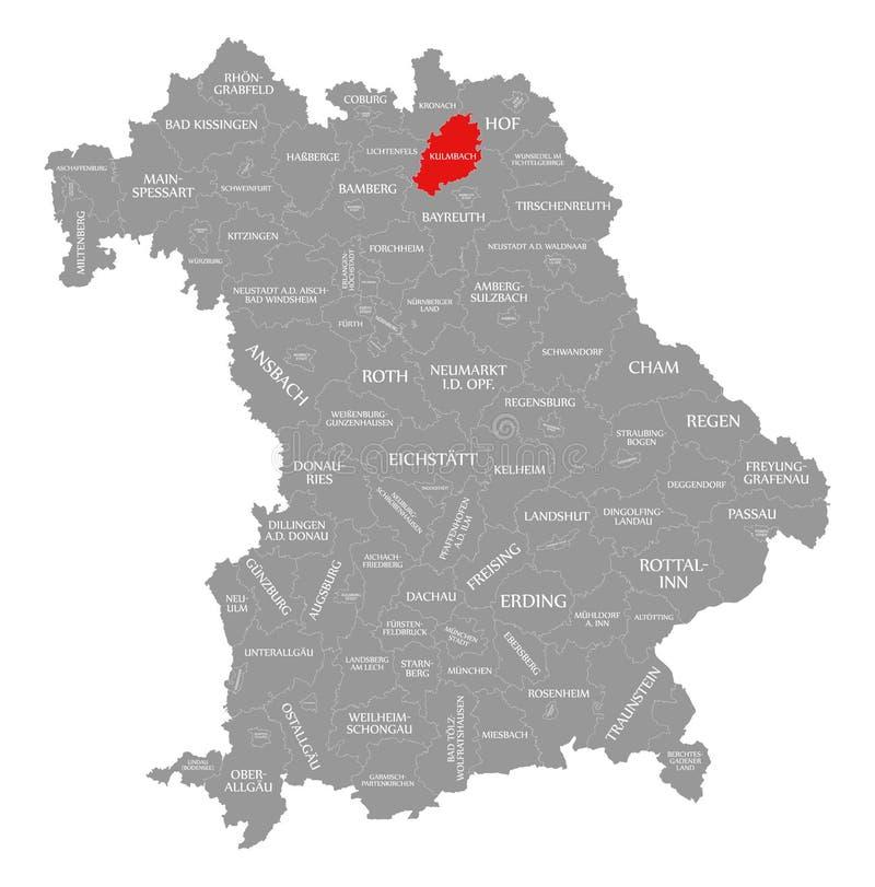 Kulmbach okręgu administracyjnego czerwień podkreślająca w mapie Bavaria Niemcy royalty ilustracja