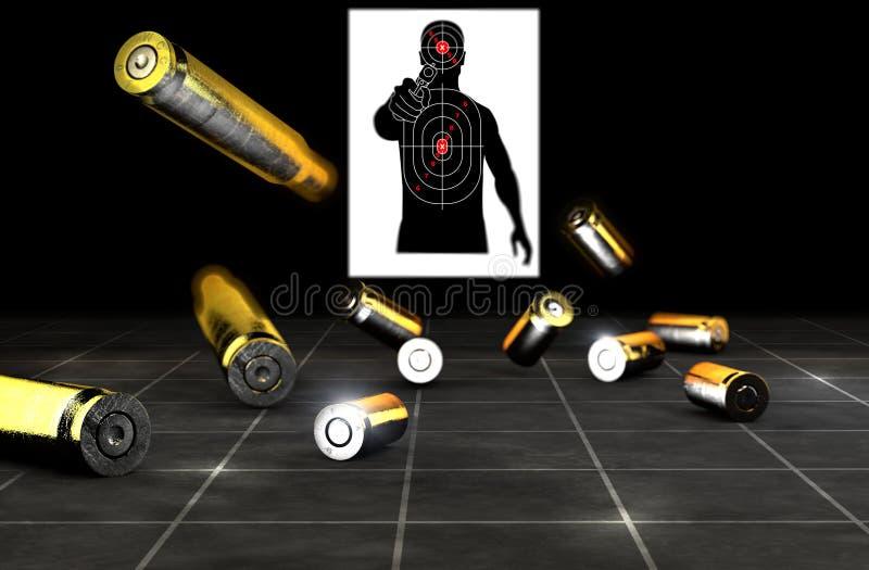 Kulor och skal av ett skjutvapen Vapenammunitionar p? en svart bakgrund arkivbilder