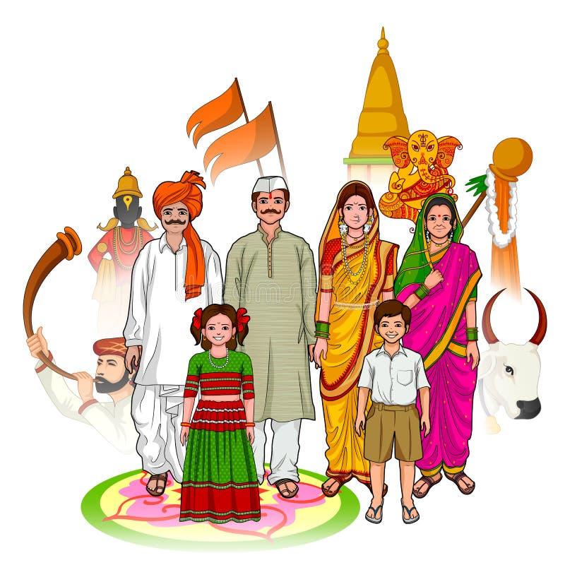 Kultur för Maharashtrian familjvisning av maharashtraen, Indien royaltyfri illustrationer