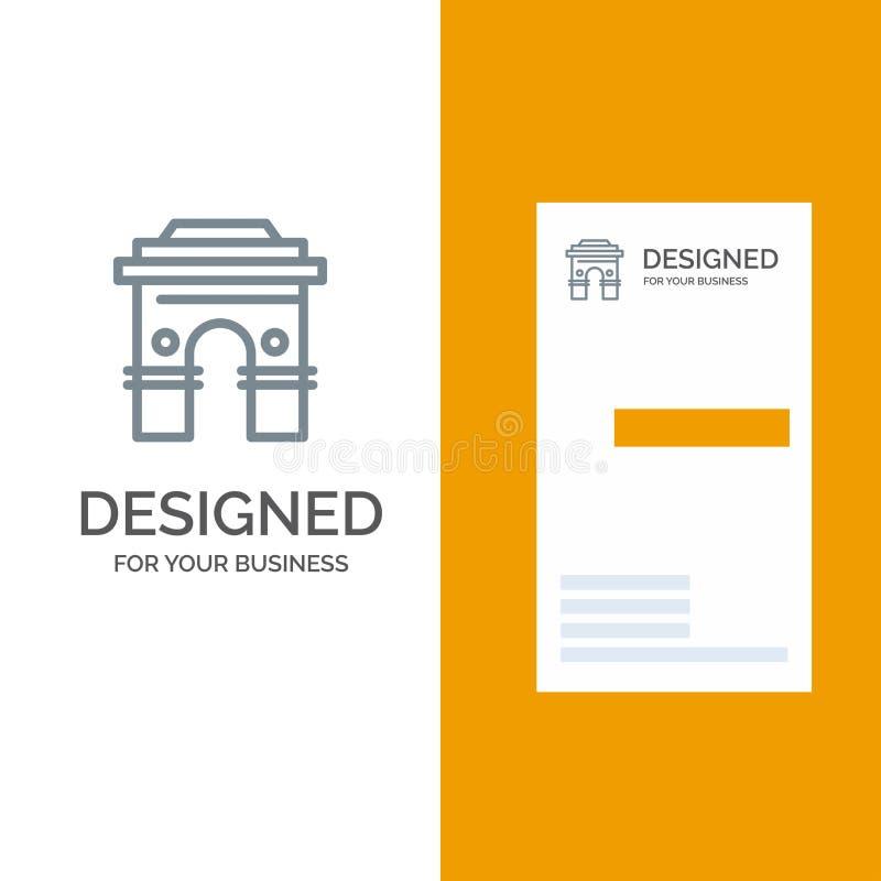 Kultur globalt, Hinduism, Indien, indier, Sri Lanka, tempel Grey Logo Design och mall för affärskort stock illustrationer