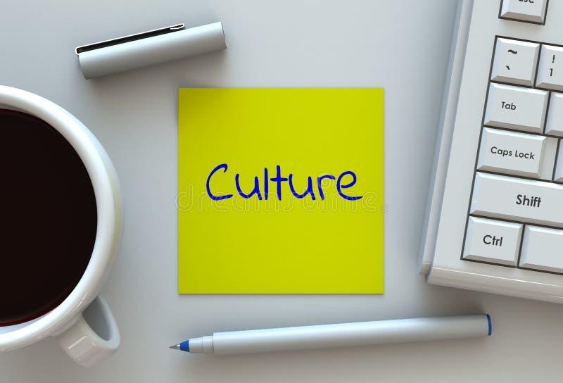 Kultur, Mitteilung auf Briefpapier, Computer und Kaffee auf Tabelle stock abbildung