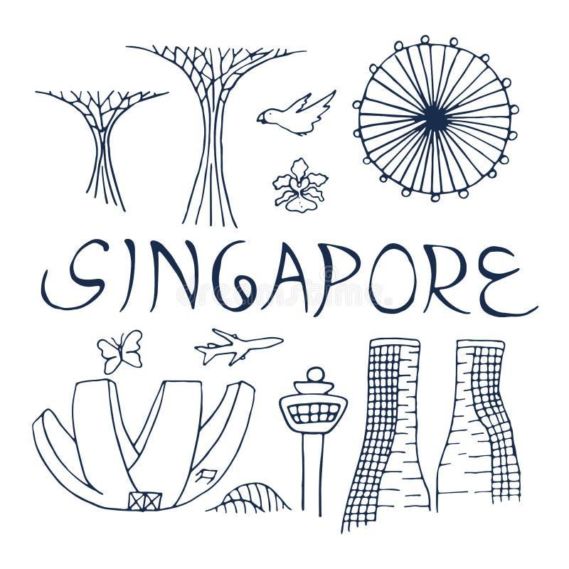 Kultur och arkitektur av Singapore Symboler av Singapore royaltyfri illustrationer