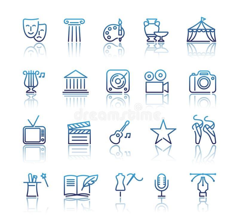 Kultur och idérika fina Art Line Icons Set stock illustrationer