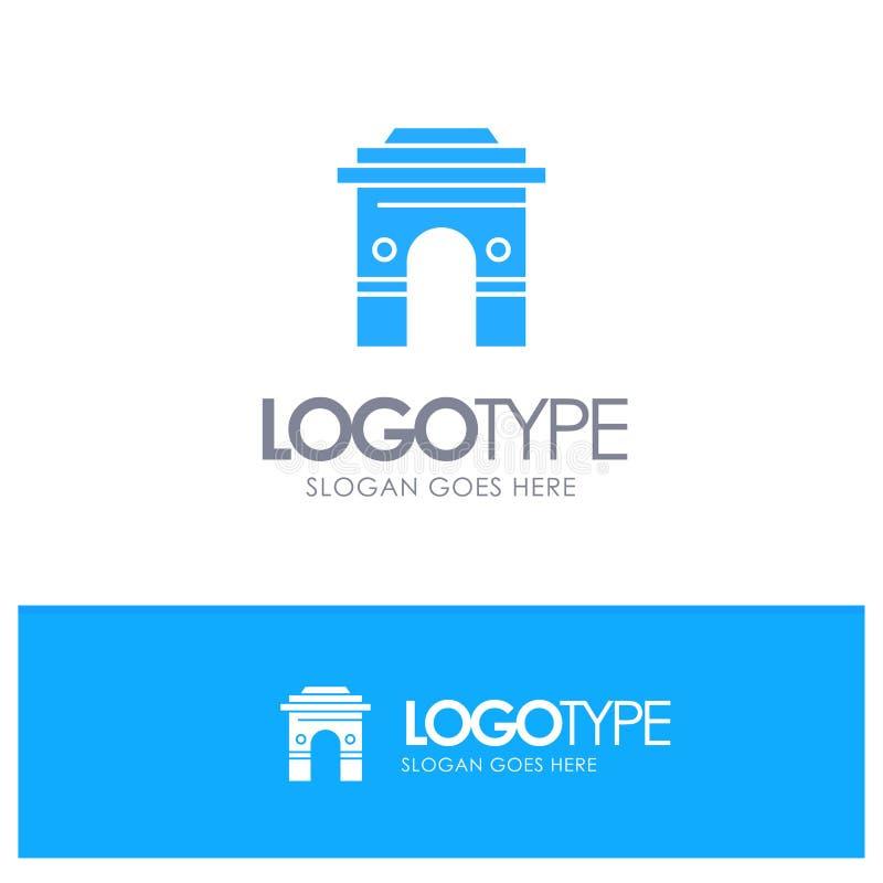 Kultur som är global, Hinduism, Indien, indier, Sri Lanka, blå fast logo för tempel med stället för tagline stock illustrationer