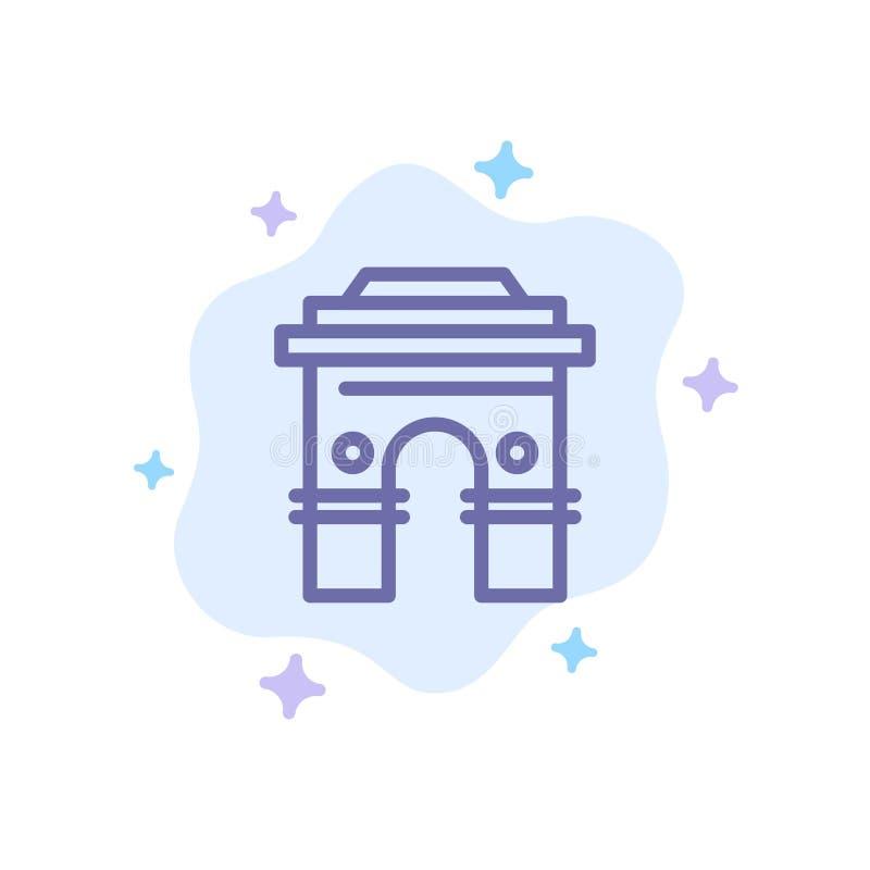 Kultur som är global, Hinduism, Indien, indier, Sri Lanka, blå symbol för tempel på abstrakt molnbakgrund royaltyfri illustrationer
