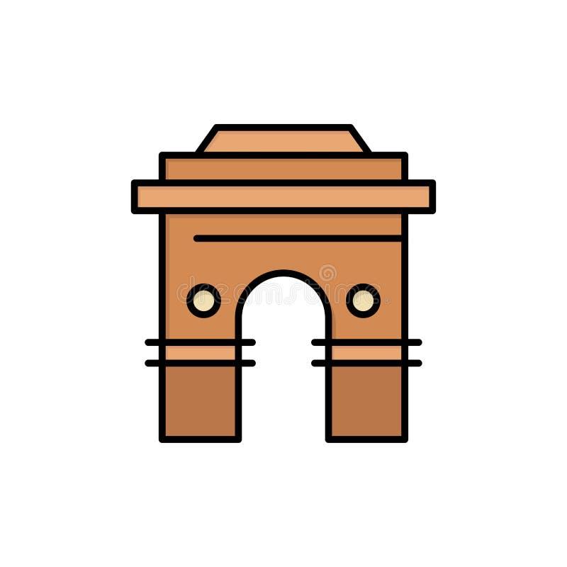 Kultur som är global, Hinduism, Indien, indier, Sri Lanka, plan färgsymbol för tempel Mall för vektorsymbolsbaner royaltyfri illustrationer