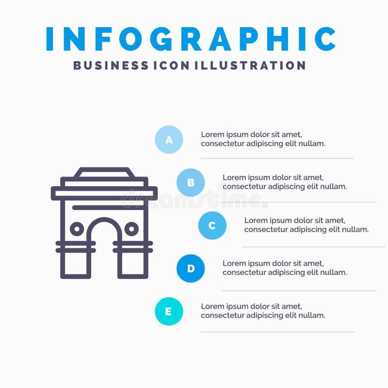 Kultur som är global, Hinduism, Indien, indier, Sri Lanka, tempellinje symbol med för presentationsinfographics för 5 moment bakg stock illustrationer