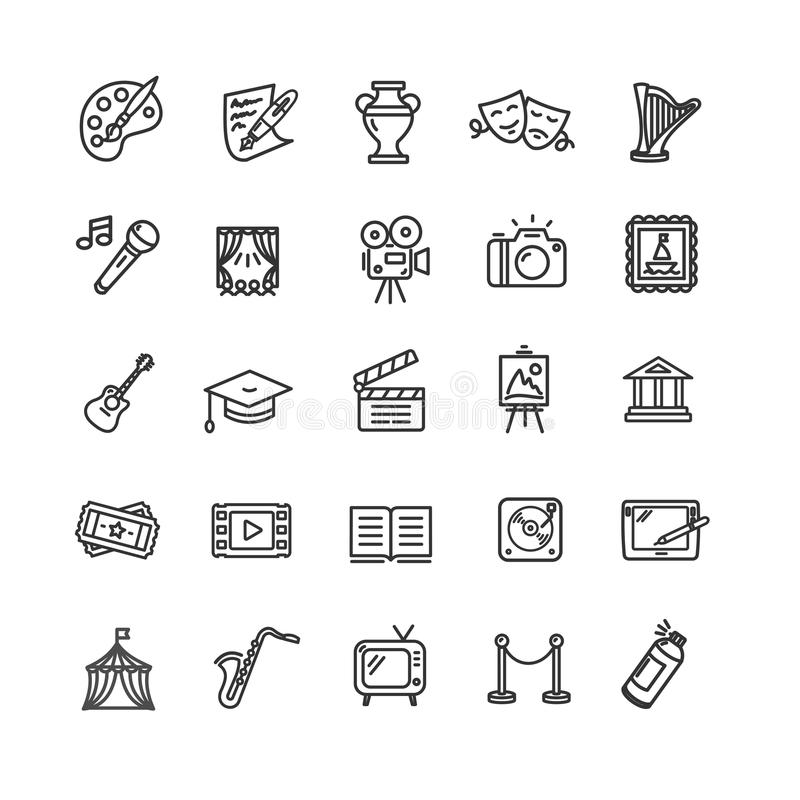 Kultur und kreativer feiner Art Icons Set Vektor lizenzfreie abbildung
