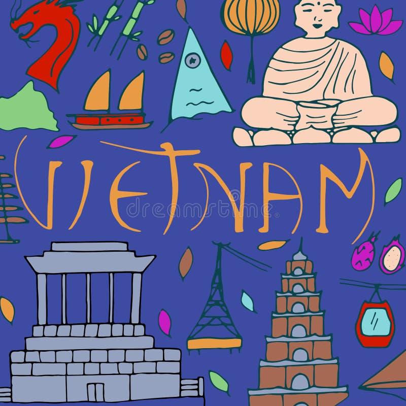 Kultura Wietnam Azjatyckie architektury, symbole royalty ilustracja