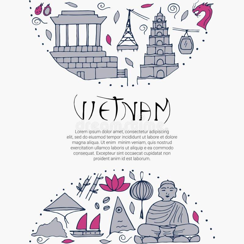 Kultura Wietnam Azjatyckie architektury, symbole ilustracji