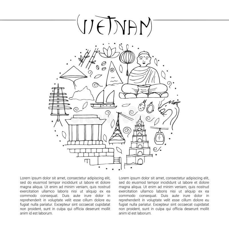 Kultura Wietnam Azjatyckie architektury, symbole ilustracja wektor