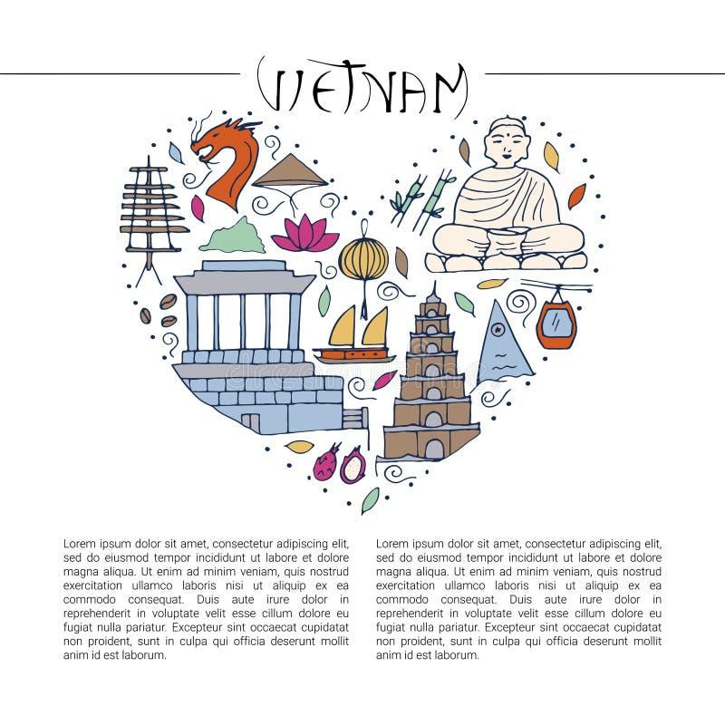Kultura Wietnam symbole tradycyjni ilustracja wektor