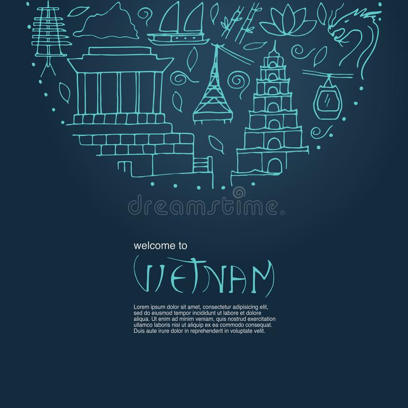 Kultura Wietnam Wręcza patroszonego round projekta pojęcie na zmroku bl ilustracja wektor