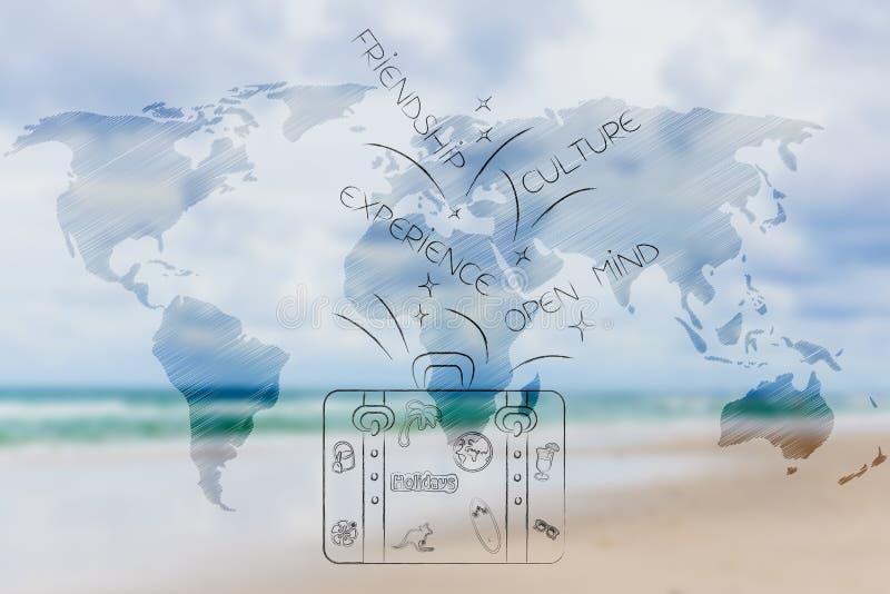 Kulturalne wycieczki, światowej mapy narzuta i bagaż z knowlegde-rel, ilustracja wektor