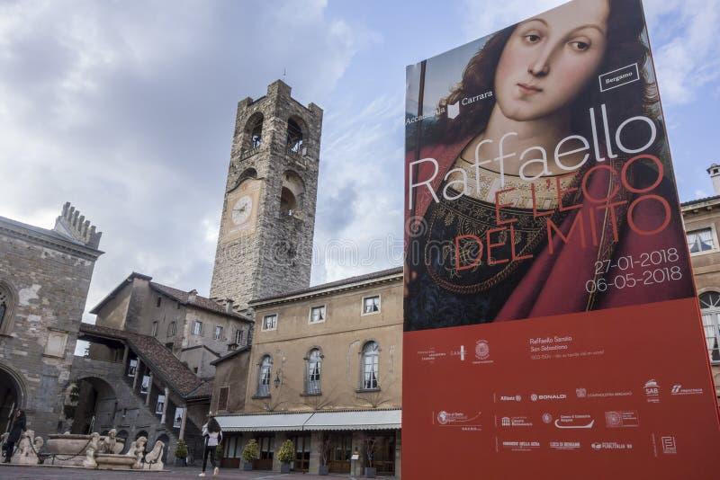 Kulturell information undertecknar in fyrkanten, piazzavecchiaen, cittaen alta arkivfoton