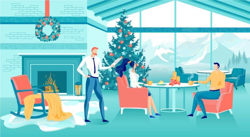Kultureller Abend während der Weihnachtsfeier lizenzfreie abbildung
