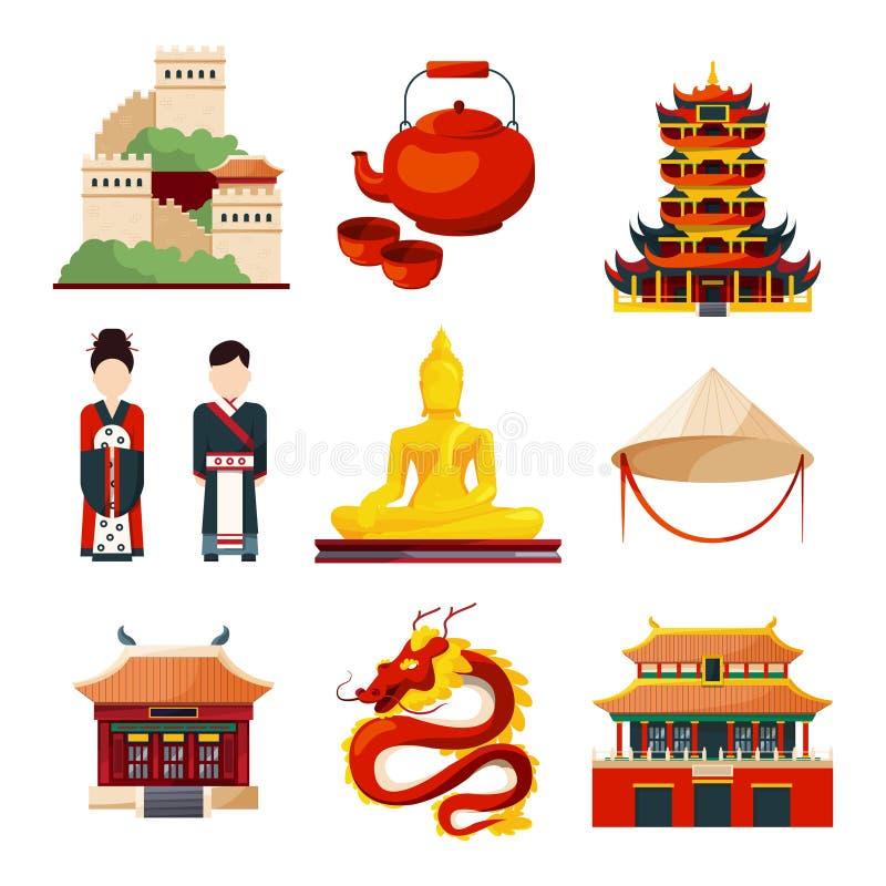 Kulturgegenstände des traditionellen Chinesen in der Vektorart vektor abbildung