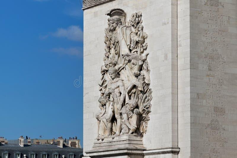 Kulturgruppen på Triumphal Arch i Paris, Frankrike La Paix 1815 av Antoine Etex hedrar minnet av Parisfördraget, arkivfoto