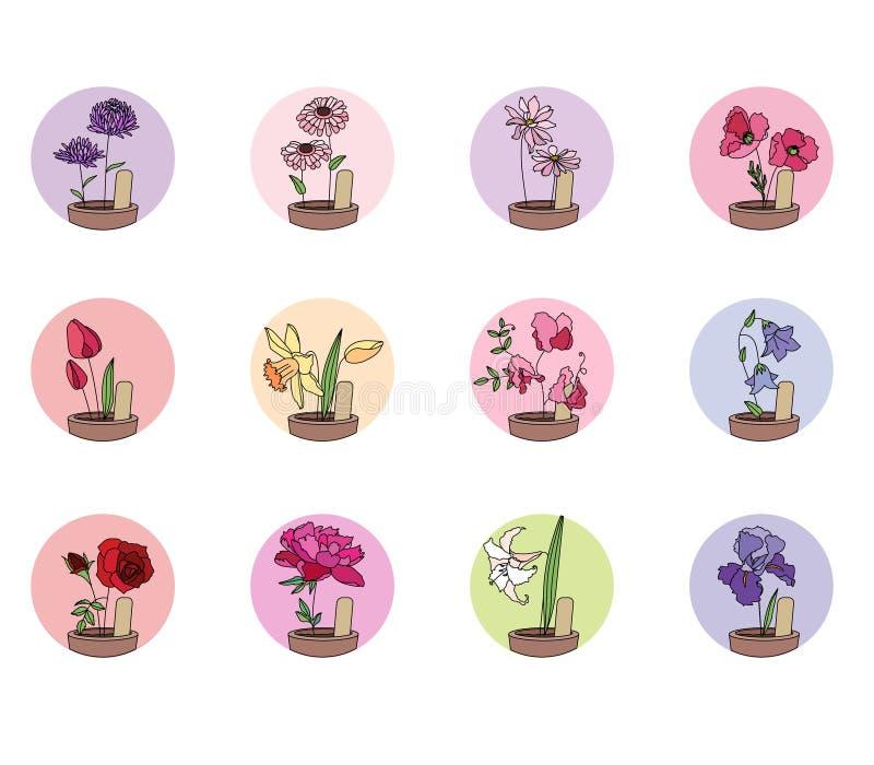 Kultywujący kwiaty w garnkach Set round ikony royalty ilustracja