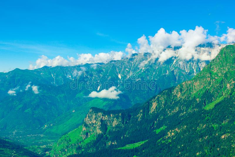 Kulu - beautiful green mountain valley in Himachal. Kulu - beautiful green mountain valley. Himachal, India royalty free stock photography