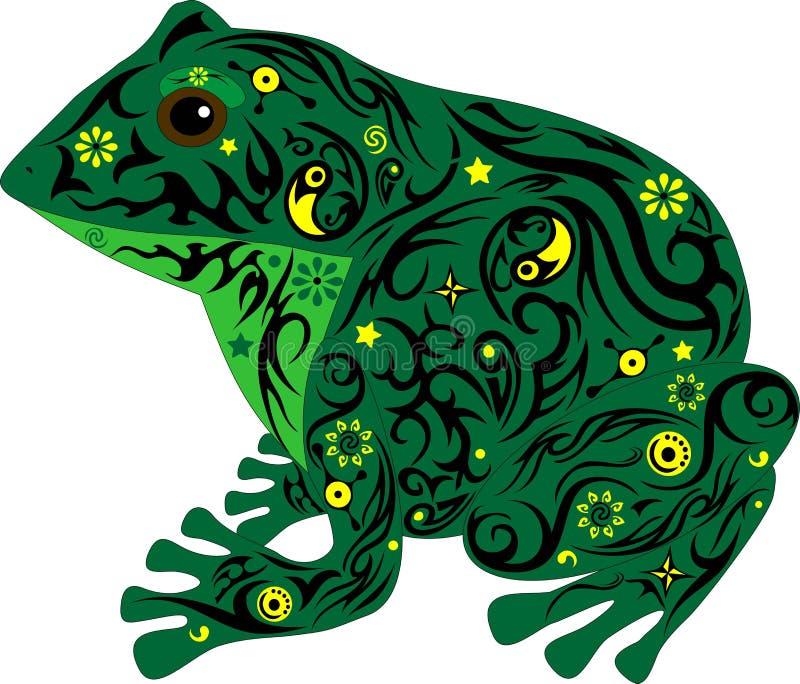 Kumak z wzorem na ciele, żaba siedzi w fachowej jedlinie, zwierzę od bagna, ilustracji